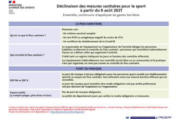 Décisions sanitaires applicables au sport à partir du 9 août 2021